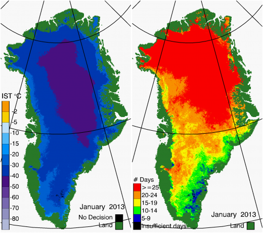 Greenland Surface Temp 01/2013