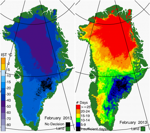 Greenland Surface Temp 02/2013