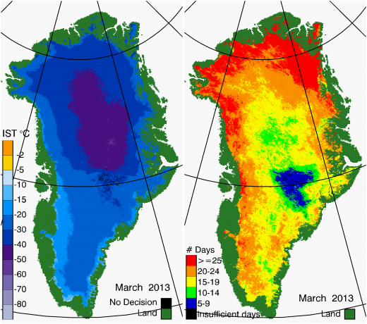 Greenland Surface Temp 03/2013