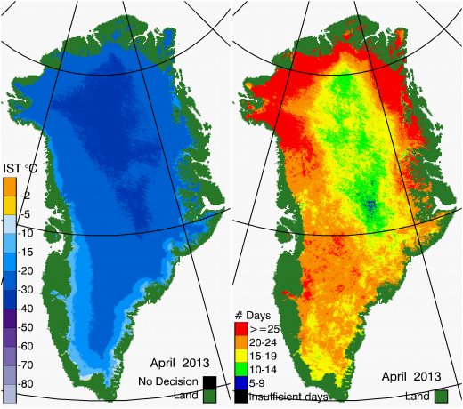 Greenland Surface Temp 04/2013