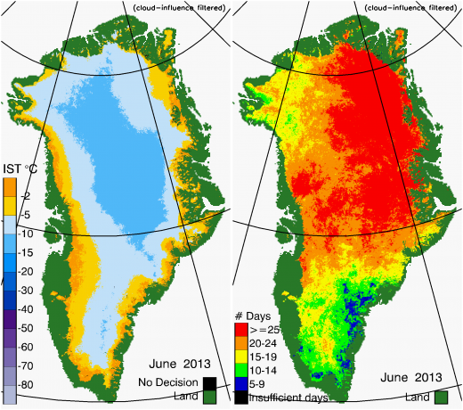 Greenland Surface Temp 06/2013