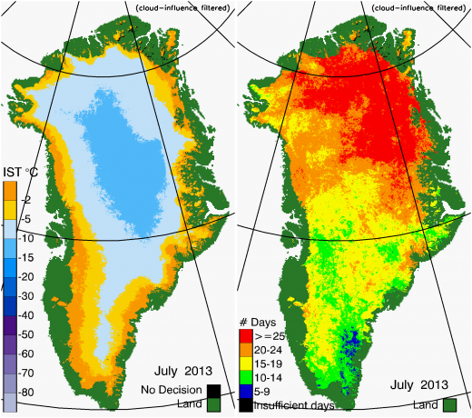 Greenland Surface Temp 07/2013