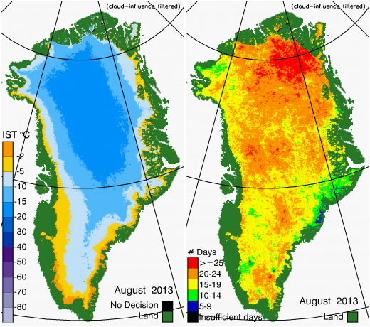 Greenland Surface Temp 08/2013