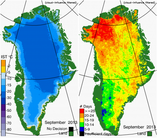 Greenland Surface Temp 09/2013