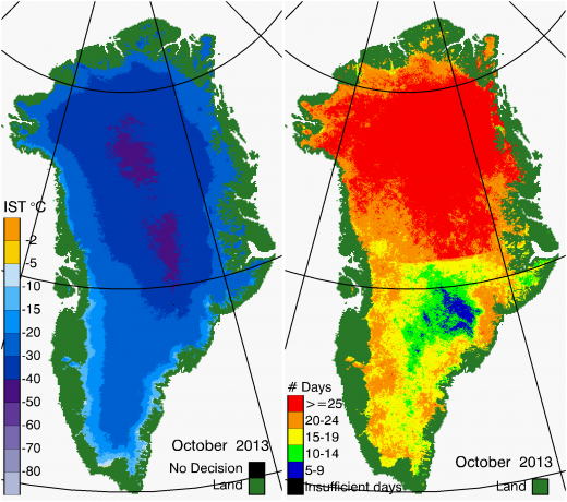 Greenland Surface Temp 10/2013