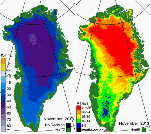 Greenland Surface Temp 11/2013