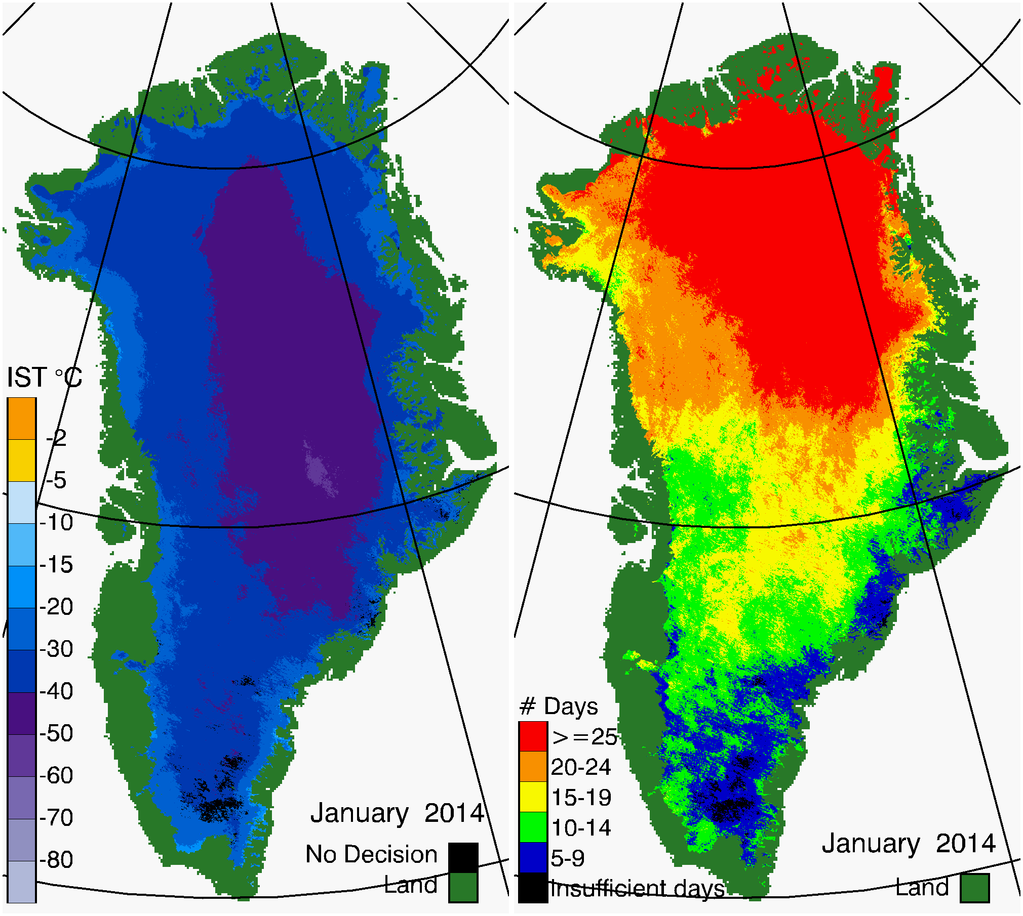 Greenland Surface Temp 01/2014