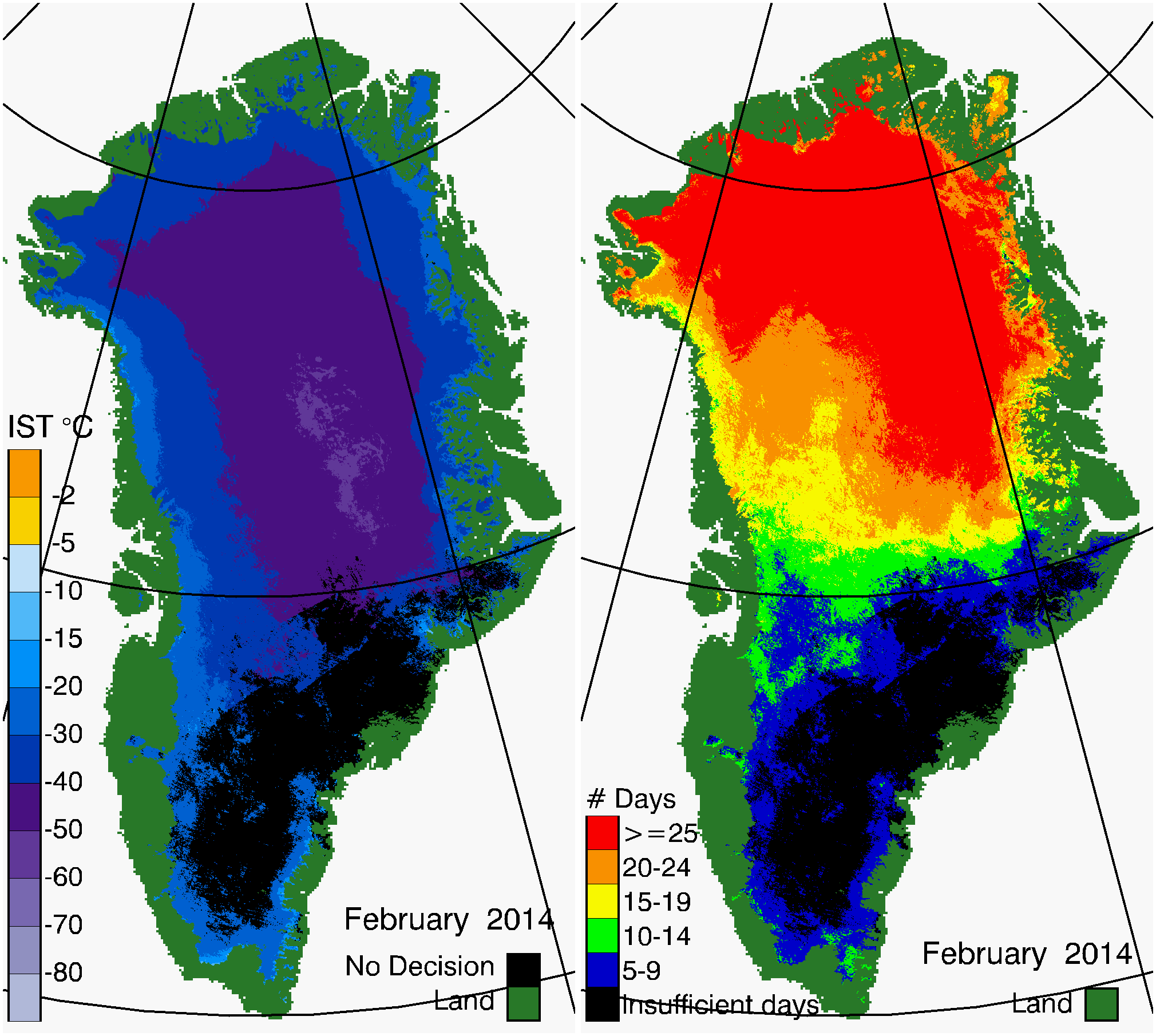 Greenland Surface Temp 02/2014