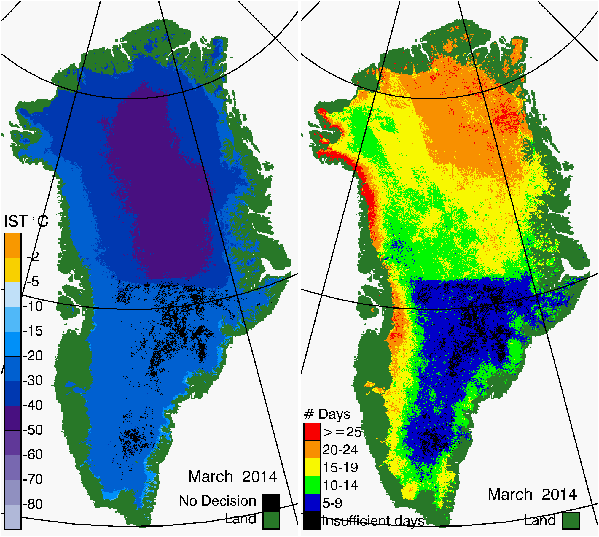 Greenland Surface Temp 03/2014