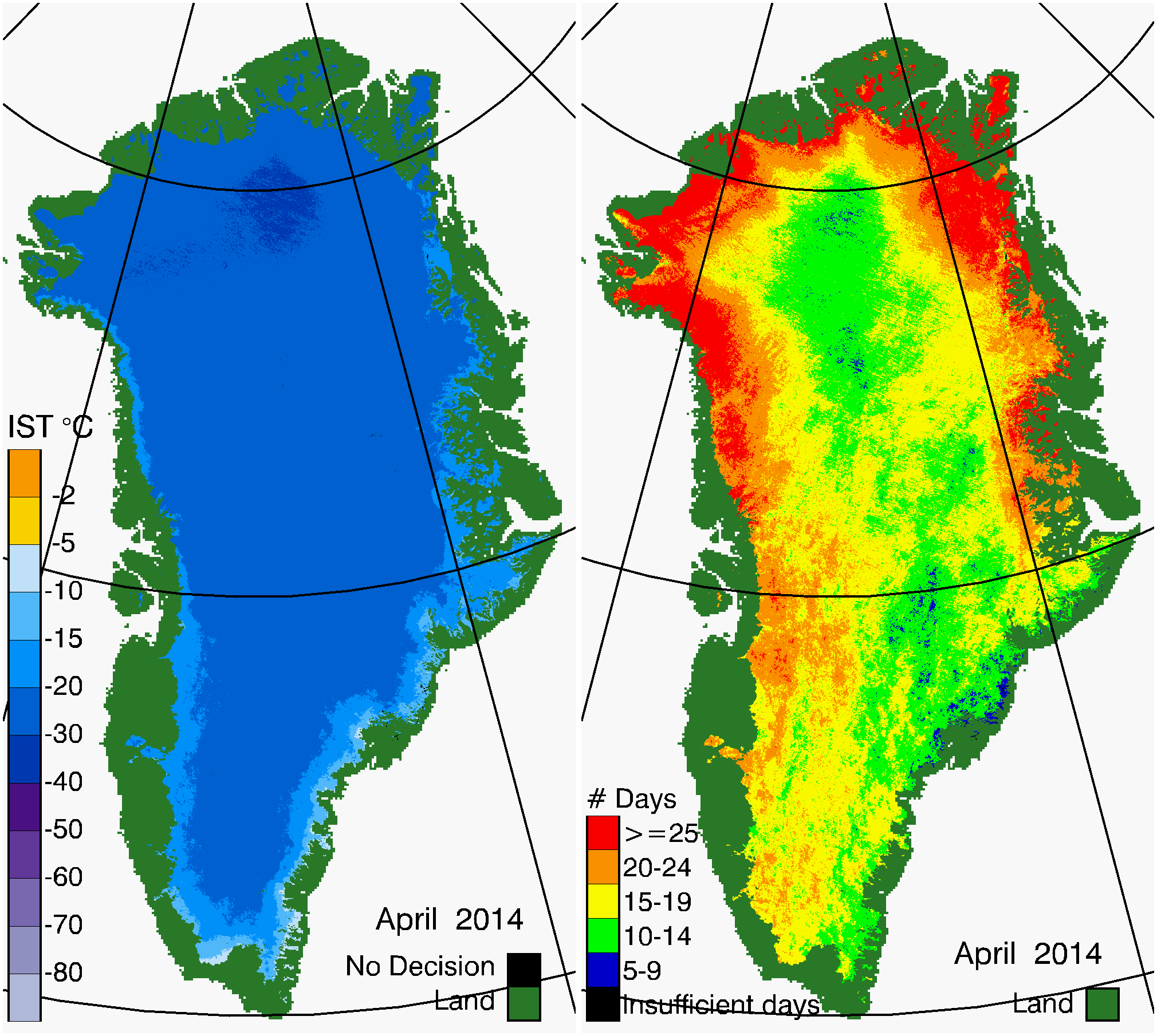Greenland Surface Temp 04/2014