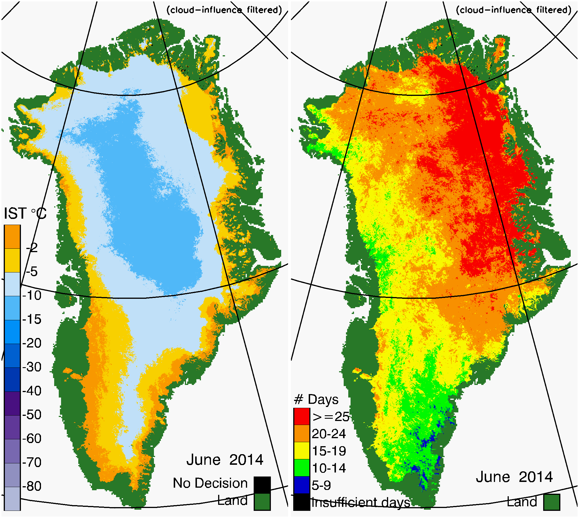 Greenland Surface Temp 06/2014