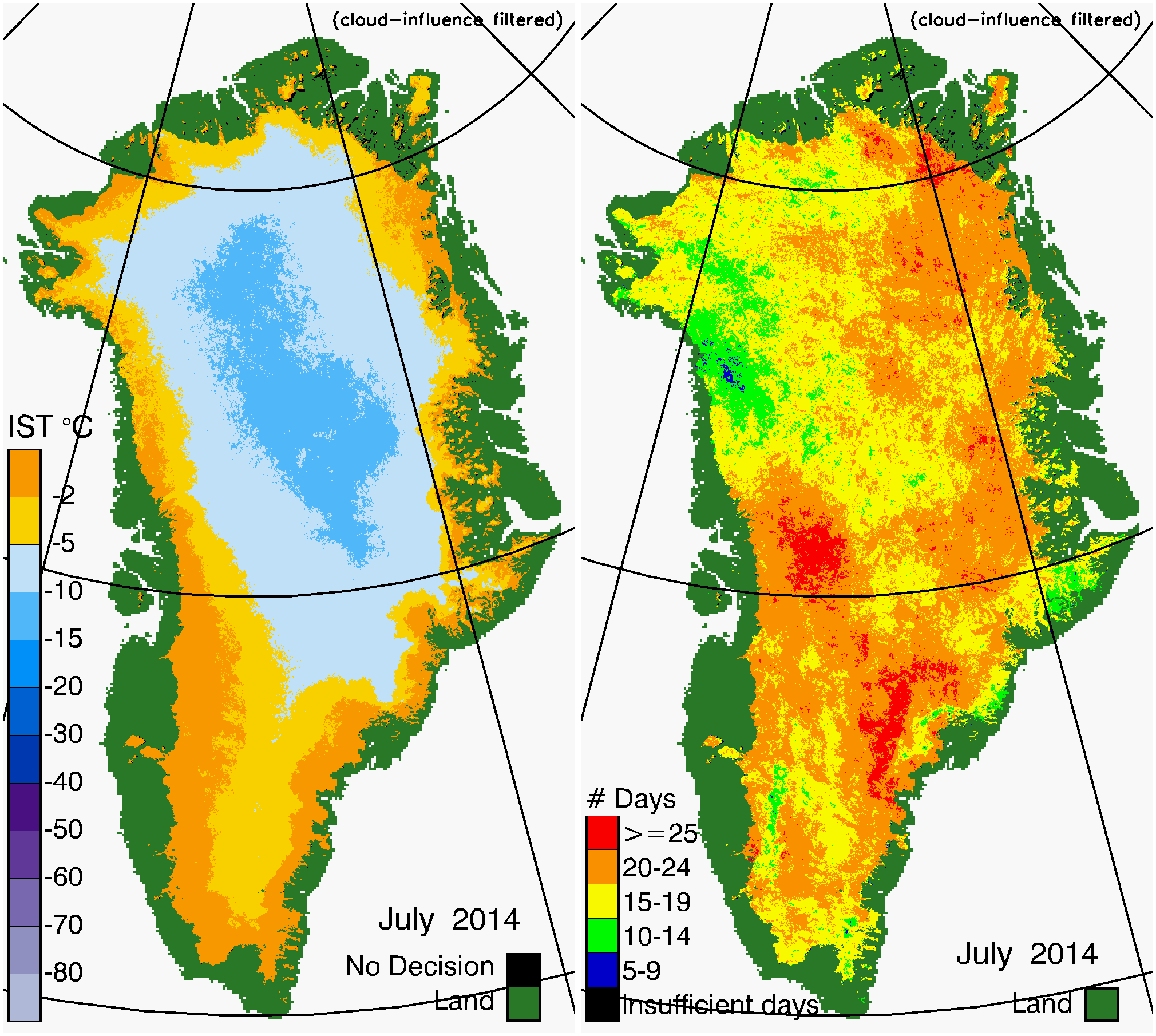 Greenland Surface Temp 07/2014