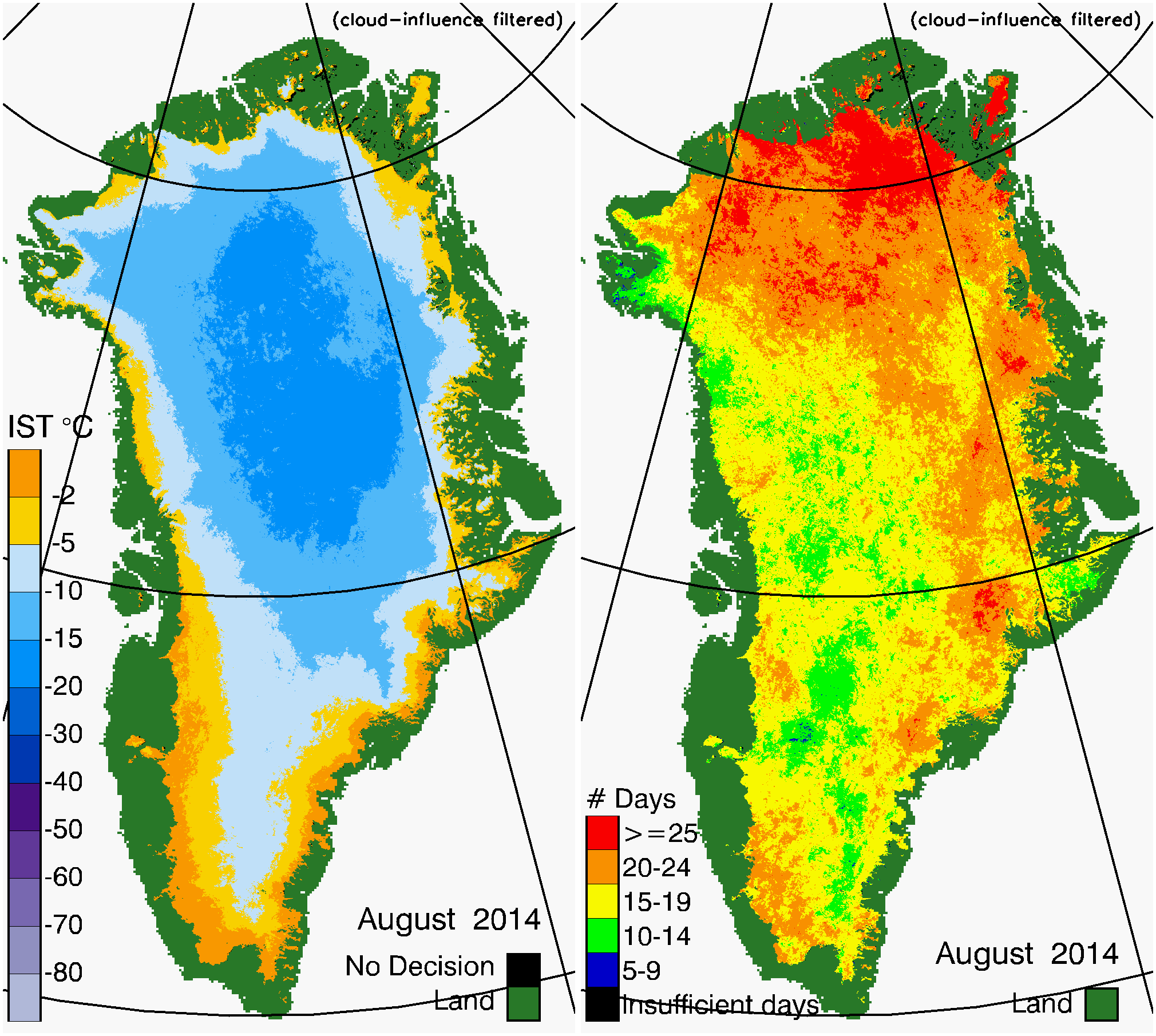 Greenland Surface Temp 08/2014