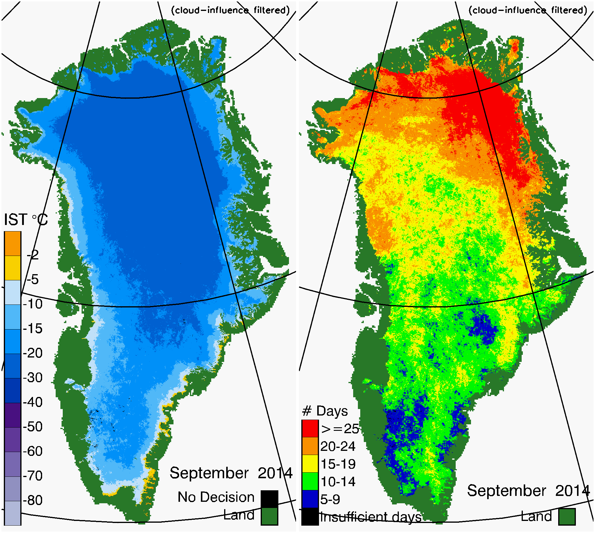 Greenland Surface Temp 09/2014