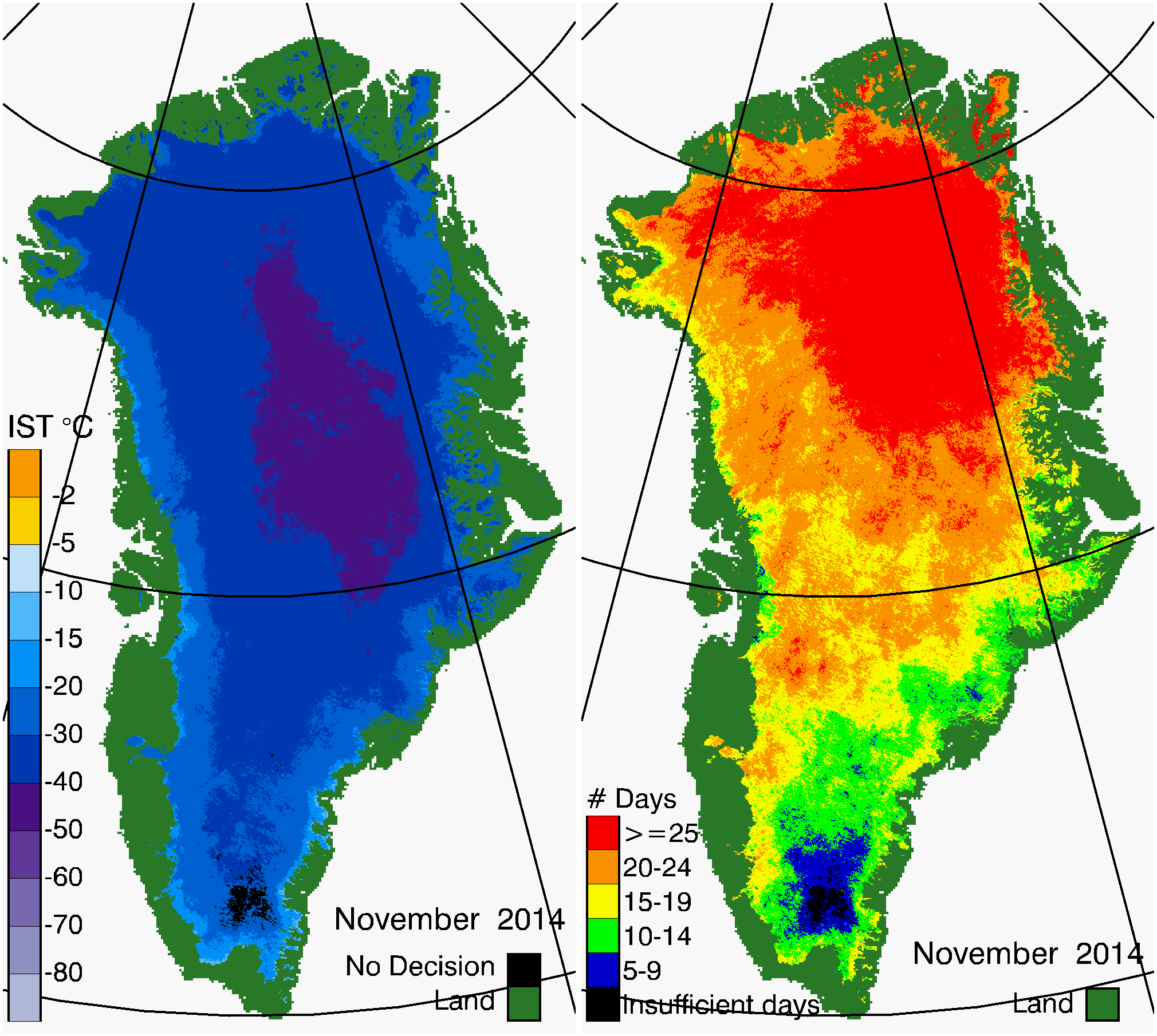 Greenland Surface Temp 11/2014