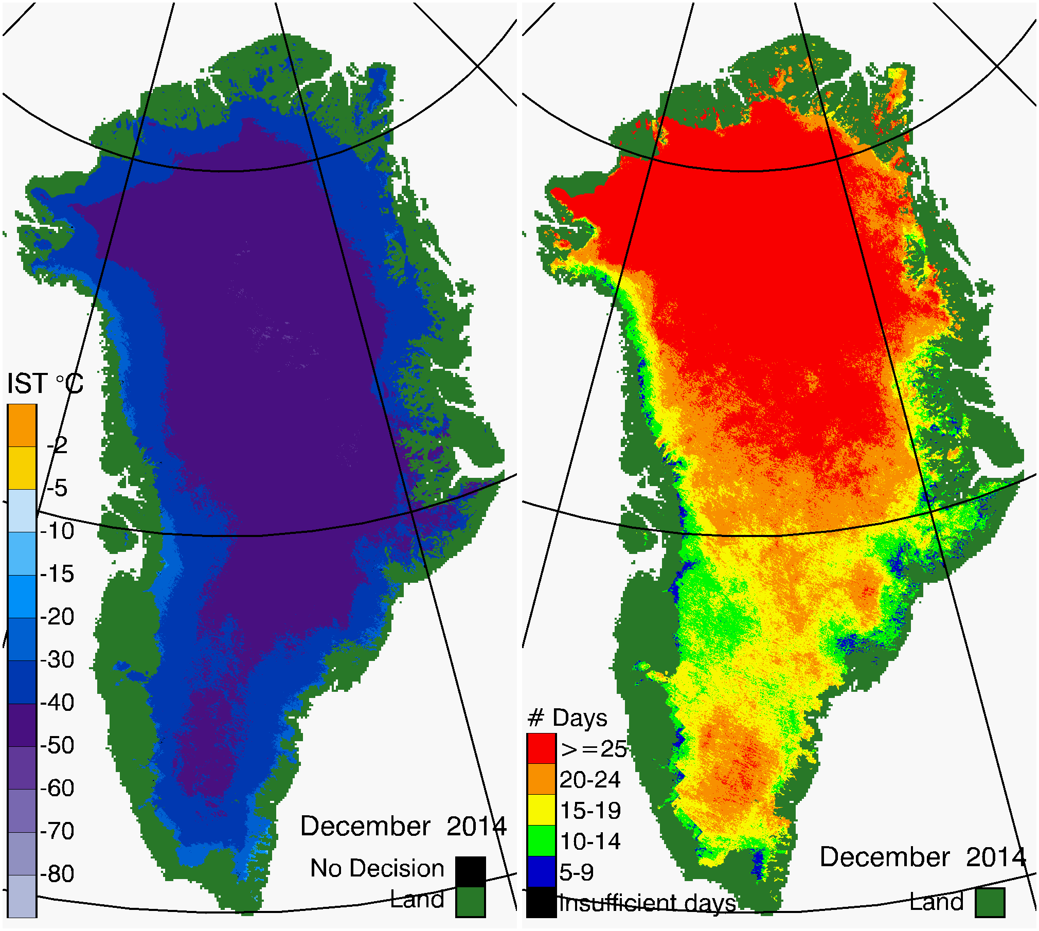 Greenland Surface Temp 12/2014